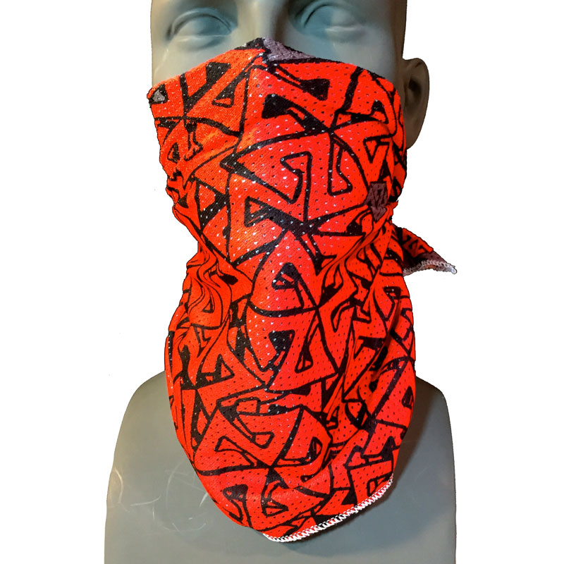 Mesh Snowboarding Bandana Facemask Red Grey