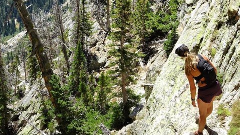 """Maybe the trail is over there… Let's go find out! @kyehalpin enjoying the """"class 4 scramble"""" terrain leading up to Cube Point in the Tetons. #noropesnojoke #avalon7 #liveactivated #climbing #higherstate www.a-7.co"""