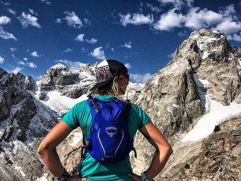 Somewhere, up there… @kyehalpin rocking her new A7 trucker hat design high in the Tetons and probably thinking about donuts. Photo: @bree.buckley #seekthestoke #mountaineering #adventure