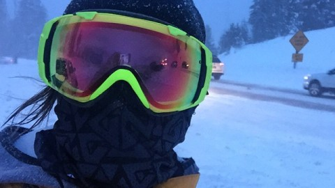 Feeling warm in happy standing at the top of Teton Pass in a blizzard. 40 mph wind gusts and pelting snow. My trusty Mesh Tshield facemask keeps my face nice and toasty, completely covered without fogging my goggles.  #avalon7 #snowboarding #facemasks www.avalon7.co