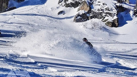 Merry Christmas!  Love hope and happy pow turns to everyone! @kyehalpin gets slashy in the @jacksonhole backcountry and finds the present.  #avalon7 #snowboarding #slashpow #merrychristmas! Www.avalon7.co