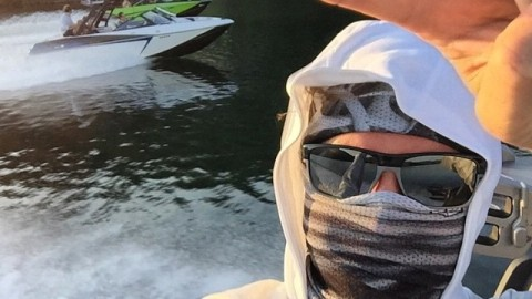 Adventurer @flashgarrison rocking a couple of our Mesh Tshields and keeping the sun off his face after a long day on the lake! #avalon7 #liveactivated www.avalon7.co