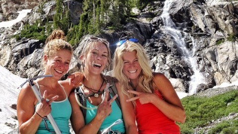 Don't go chasing waterfalls… Chase summits instead! Adventure girls @fifty.shades.of.purple @kyehalpin and @savcum celebrate after a fun jaunt up the Middle Teton. #avalon7 #adventuregirls #liveactivated www.avalon7.co
