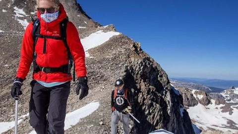 Adventurers @fifty.shades.of.purple and @robkingwill high up in the #tetons rocking  our Mesh Tshield facemasks to keep off that scorching sun! @savcum #avalon7 #adventuremore #liveactivated #climbing www.avalon7.co