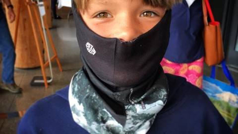 Stoked grom from Pennsylvania rocking his new #adventurescarf at the locals art show yesterday held at the Moose Visitor Center in Twton National Park. #AVALON7 #liveactivated #faceshield www.avalon7.co