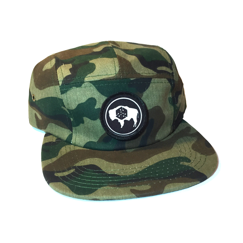 AVALON7 kids camo wyoming bison camp hat
