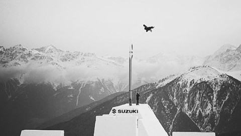 Witness the next level. @hitschhaller sets the world record for blasting into the sky. Mad Respect! #nextlevelvibes #snowboarding