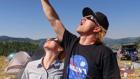What happened to the sun?! @robkingwill just had to rock our new NASA inspired tshirt for the eclipse.  #totality #awesome @avalon7 #momentsofstoke #eclipse Available at www.avalon7.co