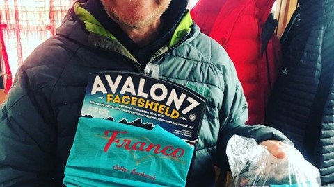 Legendary snowboard shaper @francosnowshapes is hyped on his super limited edition FaceShields that just came in! Stop by his Shape Shack at the base of JHMR and grab one before they are all gone. #AVALON7 #limitededition #staystoked