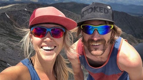 Our friends Sarah and Matt over at @thebuslife seem pretty #stoked at the top of their first fourteener in Colorado. What adventure do you want to go on this summer?  #seekthestoke #hiking #snapbackhat #handcraftedinthetetons