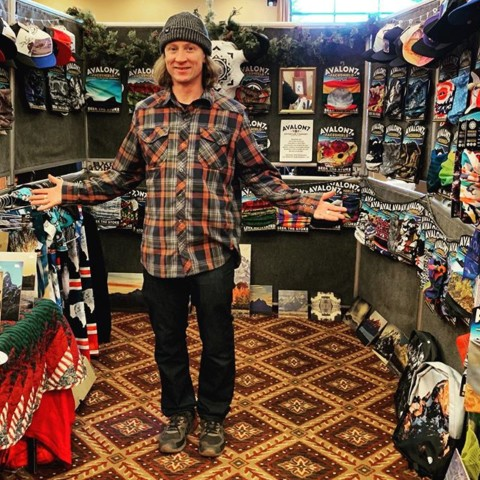 Our founder @robkingwill holding down the #AVALON7 booth at the Jackson Hole Christmas Bazaar today.  Thanks to everyone who came out and picked up a FaceShield or hat, they make perfect gifts for Christmas! #SeekTheStoke #Art #hustlin