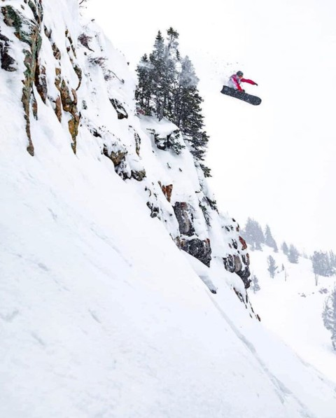 @randystrand3 sends it to the moon at @jacksonhole.  More spring storms are coming in, we may still have pow landings yet!  Photo: @keeganrice #liveactivated #snowboarding