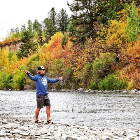 Fall is for fishing.  Snow is in the forecast for the mountains tonight in Jackson Hole, but the rivers are on fire!  Is it weird that we have an obsession with fishing AND snowboarding?  #tightlines #AVALON7 #LiveActivated #flyfishing #facemasks