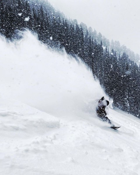 What a great way to ring in the new year! Blower pow turns all day @jacksonhole and more snow in the way!  Rider: @robkingwill  Photo: @kyehalpin  #AVALON7 #facemask #testing #liveactivated #snowboarding